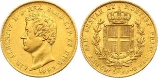 20 Lire Gold 1849 Italien-Sardinien Carlo ...