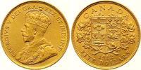 5 Dollars Gold 1912 Kanada George V. 1910-1936. Vorzüglich +  575,00 EUR