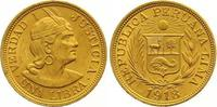 Libra Gold 1918 Peru Republik seit 1821. Vorzüglich  365,00 EUR