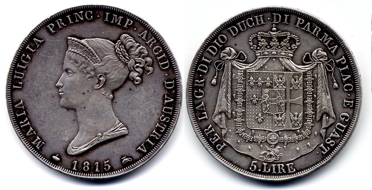 Parma Maria Luigia Italy / Italien 5 Lire 1815