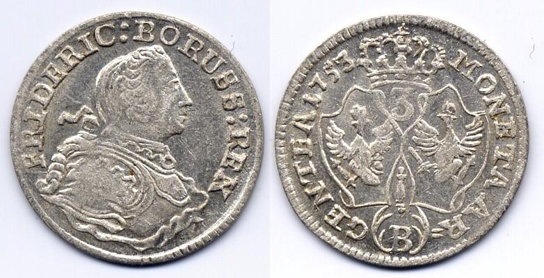 Friedrich Ii Brandenburg Preussen 3 kreuzer 1753 B