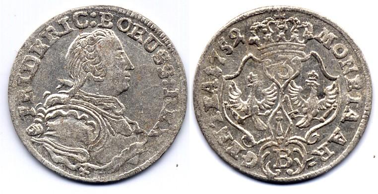 Friedrich Ii Brandenburg Preussen 3 kreuzer 1752 B