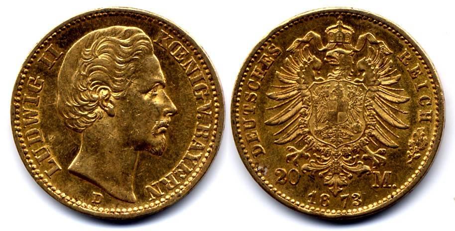 Ludwig Ii 1864-1886 Bayern 20 Mark 1873 D
