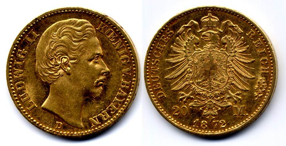 Ludwig Ii 1864-1886 Bayern 20 Mark 1872 D