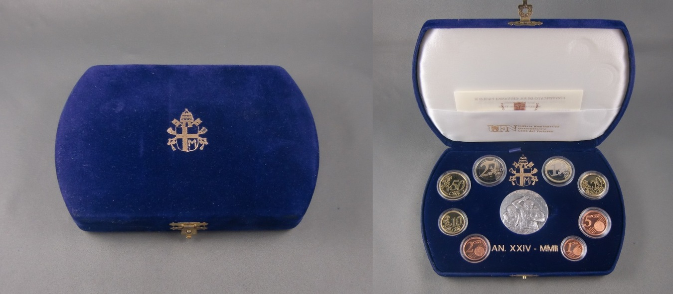 Vatikan Kursmünzensatz 2002 mit Silbermedaille im Etui Pp Kms mit Med