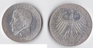 5 Mark 1957 BRD Eichendorff vz+