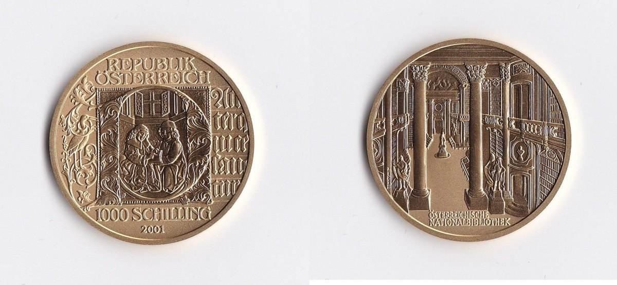 Österreich 1000 Schilling Gold 2001 Buchmalerei
