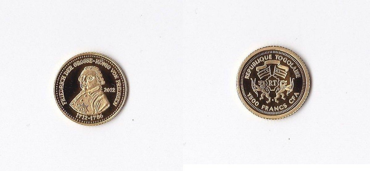 Republique Togolaise Togo 1500 Francs 2012 Gold Friedrich der Große