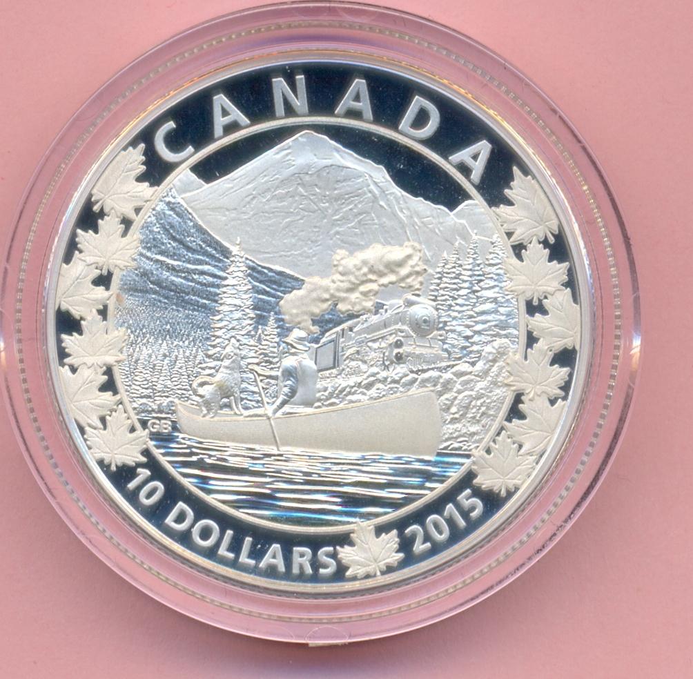 10 Dollar 2015, Lokomotive im Gebirge, Kanu Silber Pp Kanada, Canada