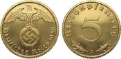 5 Pfennig 1936 A Drittes Reich  fein zapon...