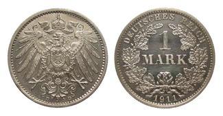 1 Mark 1911 D Kaiserreich  berieben, polie...