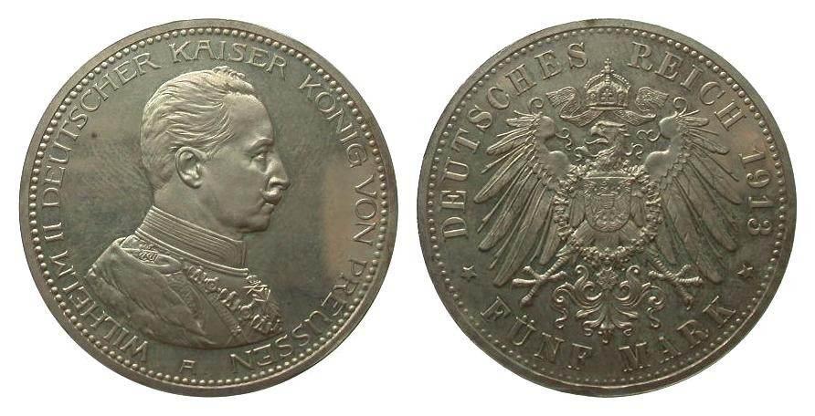 5 Mark Preussen 1913 A Kaiserreich wz. Kratzer, polierte Platte