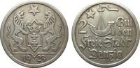 2 Gulden Danzig 1923 Kolonien und Nebengebiete  Kratzer, sehr schön  115,00 EUR
