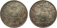 1/2 Mark 1908 E Kaiserreich  fast Stempelglanz / Stempelglanz  69,00 EUR
