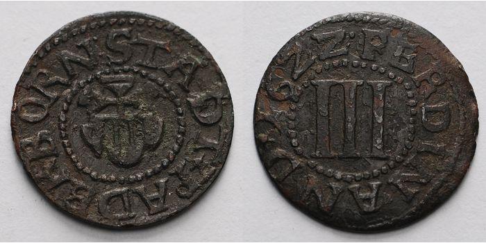 Drei Pfennig 1/4 Schilling Paderborn Stadt 3 Pfennig 1622 Kupfer