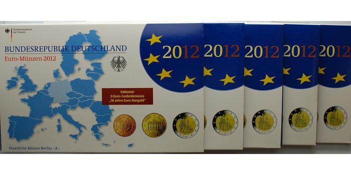 5,88 x5 2012 A/D/F/G/J Deutschland Kursmünzensatz als kompl. Satz(5 Prägestätten) PPimBlister