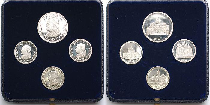 4 Medaillen Papst Paulus Vi im Etui 1975 Silber