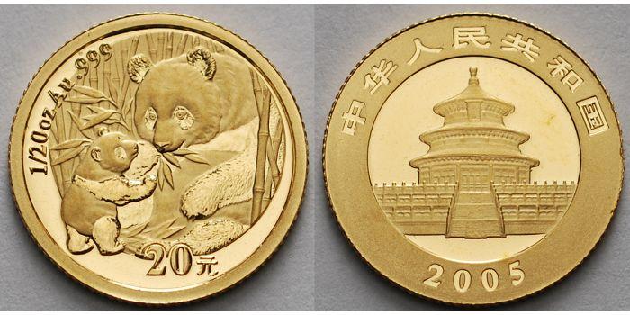 Panda-bären, 1/20 oz, 999 Gold in Kapsel China 20 Yuan, 1,55g fein 14