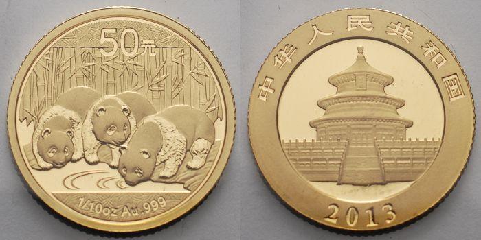Panda-bären, 1/10 oz, 999 Gold China 50 Yuan, 3,11g fein 18 mm Ø 2013