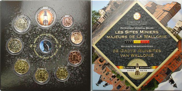 Kursmünzensatz, 8 Münzen mit farb Bergbaulampe Medaille, farbiger Sat