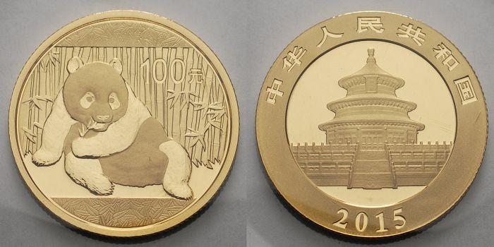 Panda-bären, 1/4 oz, 999 Gold China 100 Yuan, 7,78g fein 22 mm Ø 2015