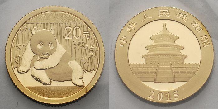 Panda-bären, 1/20 oz, 999 Gold China 20 Yuan, 1,55g fein 14 mm Ø 2015