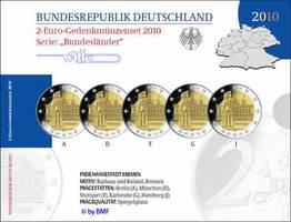 Deutschland 2 Euro  5x 2010  PP im Blister...