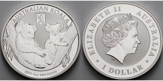 Australien 1 $ 2011  stgl Koala, Privy Mar...