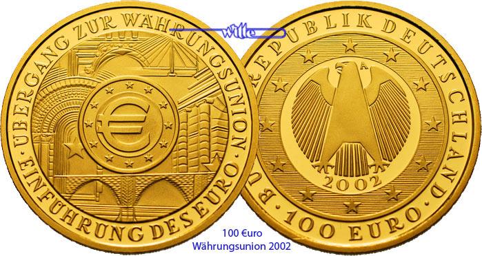 Einführung des Euro Prägestätte D / -ohne Zertifikat- Deutschland 100