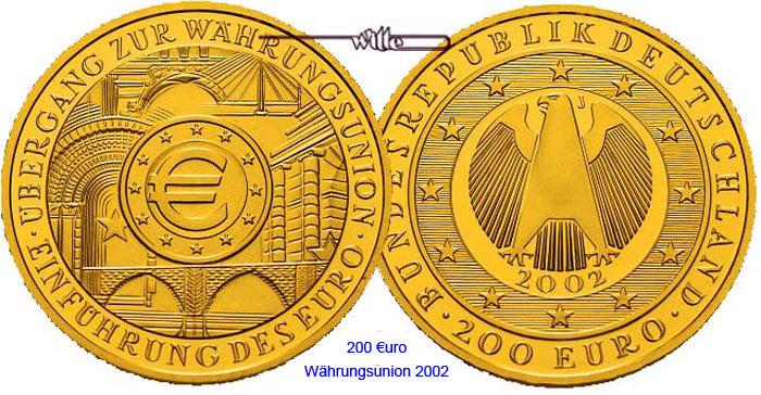 Einführung des Euro, Prägestätte J Deutschland 200 Euro 31, 1g fein 3