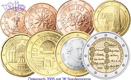 Kursmünzen, kompl Satz 2005 mit 2 Euro Staatsverträge, 8 Münzen Öster
