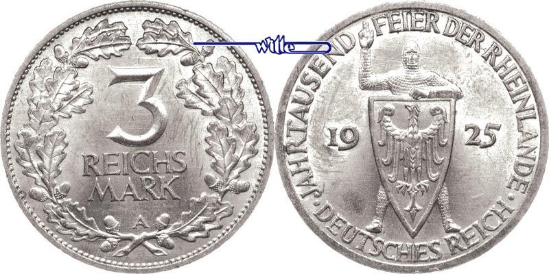 3 RM 1925 A Weimarer Republik Rheinlande, f.stgl