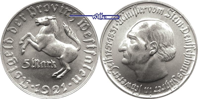5 Mark 1921 Provinz Westfalen Notgeld - Freiherr vom Stein -Aluminium-Jaeger N11 vz/stgl