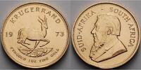 Süd Afrika 1 oz  31, 1g  fein  32, 69 mm Ø Krügerrand 1 oz. - Springbock,  1973 - seltener Jahrgang -Archivbild-