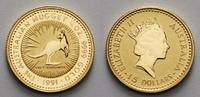 Australien 1/10 oz 15 Dollar  3,11g  fein  16,00 1/10 oz. Graues Riesenkänguruh / Nugget, ohne Münzzeichen, 1991