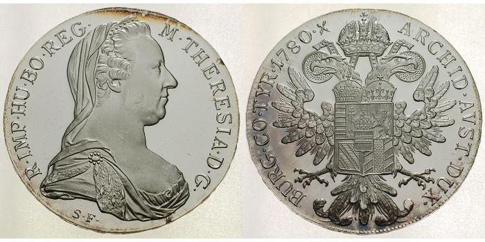 Österreich Maria Theresien Thaler -offizielle Neuprägung - Archivbild - 1780 PP berieben NP