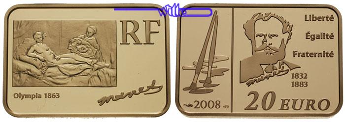 20 Euro15,64gfein31x21 mm 2008 Frankreich Manet, Edouard, 2. rechteckige Münze aus Frankreich in Kapsel & Zertifikat ProofGold