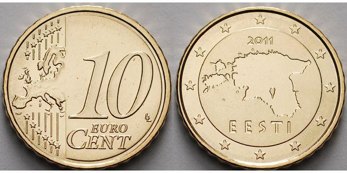 10 Cent 2011 Estland Kursmünze, 10 Cent, CH UNC