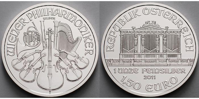 Österreich 1.5 Euro 2011 stgl Wiener Philharmoniker in Silber, 1 Unze Feinsilber,