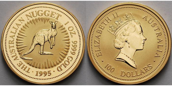 1 oz./ 31,1g. fein 1995 Australien 100 Dollar, Känguruh, Nugget, ohne Münzzeichen, 999.9 Gold, Anlagegold