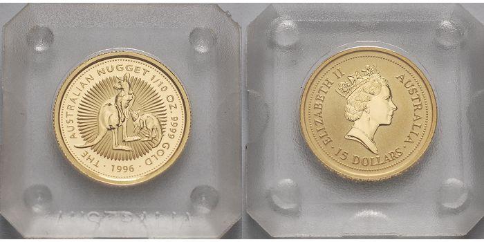 15 Dollar 1996 Australien 1/10 oz. Känguruh mit Jungtier / Nugget, ohne Münzzeichen Anlagegold