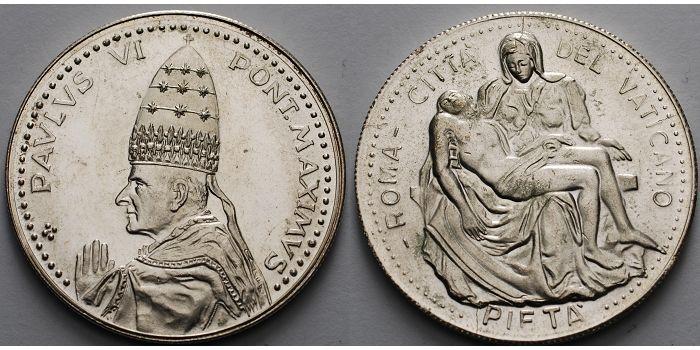 Medaille in Silber, Paulus Vi, Pont Maximus Vatikan 15,51g roh 35mm Ø