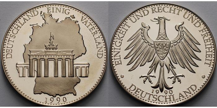 21,34g roh40mm Ø 1990 Deutschland Medaille, Deutschland einig Vaterland, 1990 inkl. Kapsel & Etui PPberieben