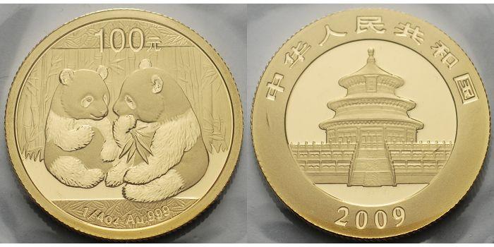 Panda-bären, 1/4 oz, 999 Gold China 100 Yuan, 7,78g fein 2009
