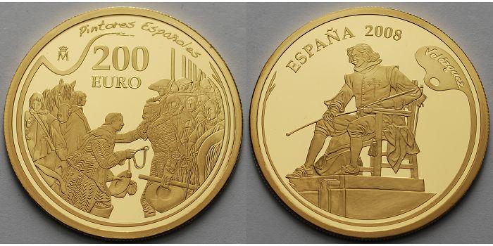 200 Euro13,49gfein30 mm Ø 2008 Spanien Berühmte Maler-Velazquez PP