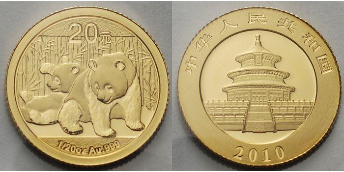 Panda-bären, 1/20 oz, 999 Gold China 20 Yuan, 1,55g fein 2010