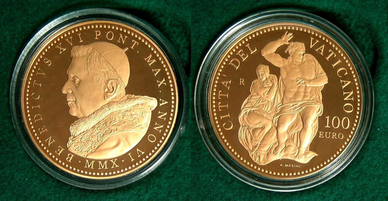 2010 100 Euro Die Sixtinische Kapelle Das Jüngste Gericht Vatikan 100