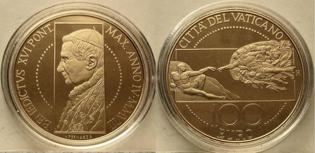 2008 100 Euro Sixtinische Kapelle Die Schaffung des Mannes Vatikan 10