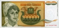 100.000 Dinara 1993 Jugoslawien Pick 118 unc/kassenfrisch  1,50 EUR  zzgl. 3,95 EUR Versand