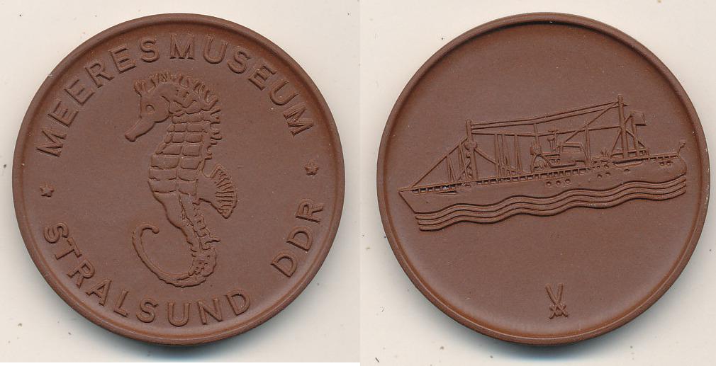 Medaille Deutschlandddr Stralsund Meeresmuseum Böttger Steinzeug